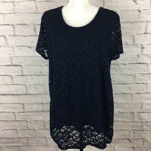 Le Lis women lace top stitch fix navy 1X